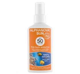 spray solaire bio spf 50 uva uva 100% naturel alphanova sun
