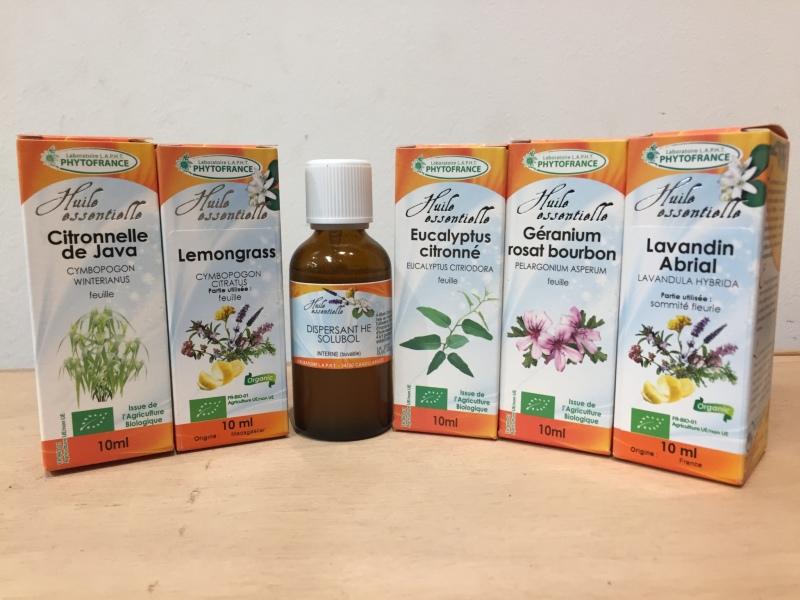 pack promo huiles essentielles bio et dispersant pour confection spray r pulsif cutan super. Black Bedroom Furniture Sets. Home Design Ideas